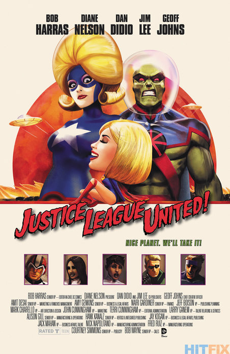 JUSTICE LEAGUE UNITED #10 inspired by MARS ATTACKS, with cover art by Marco D'Alphonso