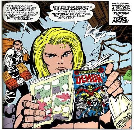 Anche nella prima serie di Kamandi, che vediamo qua rappresentata da una vignetta di Kirby, Kamandi trovava fumetti che gli raccontavano di un mondo che ormai non esiste più.