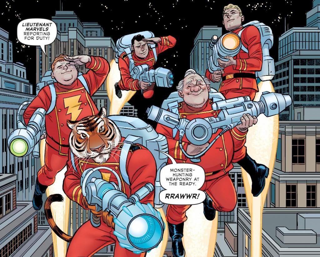 Il resto della Famiglia Marvel al completo! Zio Dudley, Rosso Boccalarga e i tre Tenenti Marvel alle spalle.