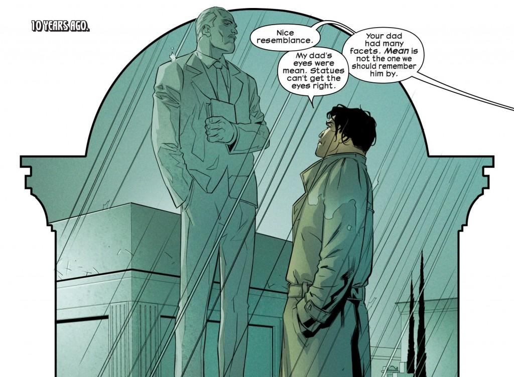 Un giovane Tony Stark osserva il monumento eretto alla memoria di suo padre. Il loro momento di massima vicinanza.