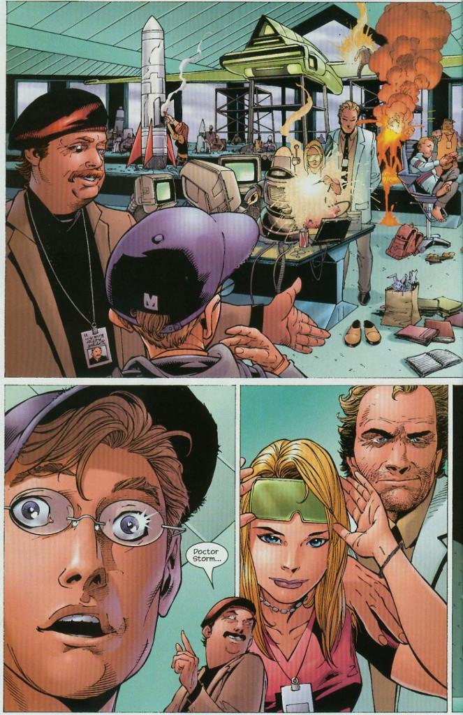 Reed Richards viene accolto calorosamente al Baxter Building da Lumpkin, dal Dr. Franklin Storm e da sua figlia Susan