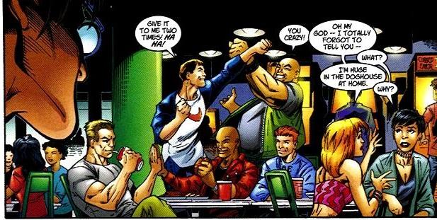 I due ragazzi che esultano in preda ad un attacco di intelligenza sono Flash Thompson e Kong. In basso a destra, la ragazza con i capelli rossi, è quella cima di Liz Allan.