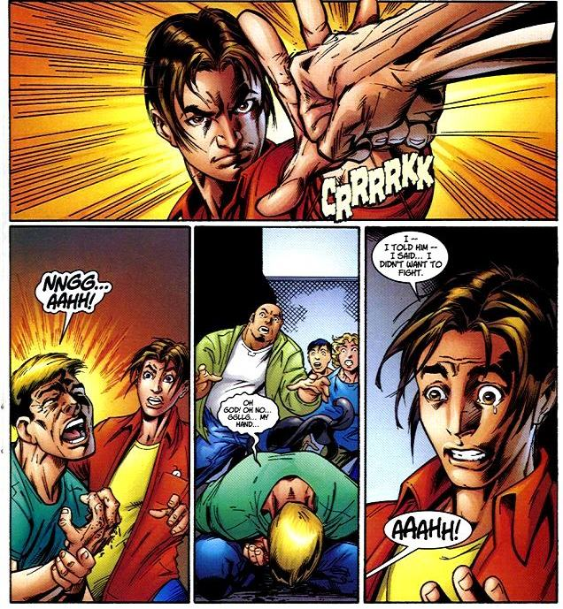 Peter rompe la mano a Flash Thompson